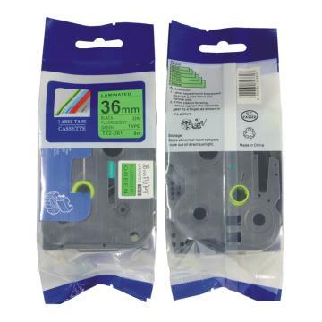普贴 标签色带,绿底黑字TZ2-761宽度36mm 适用于兄弟TZ系列标签机 单位:卷