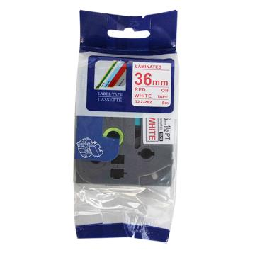 普贴 标签色带,白底红字TZ2-262宽度36mm 适用于兄弟TZ系列标签机 单位:卷