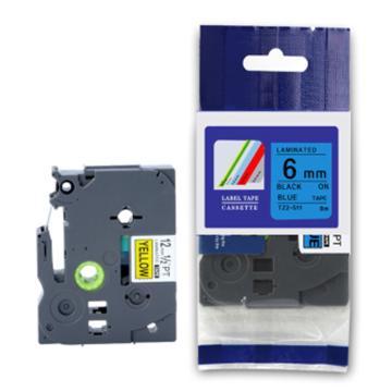 普貼 標簽色帶,藍底黑字TZ2-511寬度6mm 適用于兄弟TZ系列標簽機 單位:卷