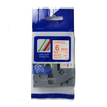 普贴 标签色带,白底红字TZ2-212宽度6mm 适用于兄弟TZ系列标签机 单位:卷