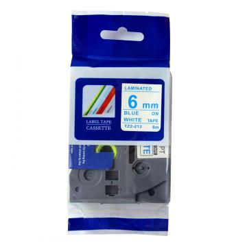 普贴 标签色带,白底蓝字TZ2-213宽度6mm 适用于兄弟TZ系列标签机 单位:卷