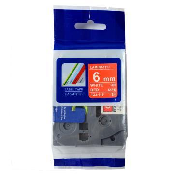 普贴 标签色带,红底白字TZ2-415宽度6mm 适用于兄弟TZ系列标签机 单位:卷