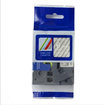 普贴 标签色带,透明底白字TZ2-115宽度6mm 适用于兄弟TZ系列标签机 单位:卷
