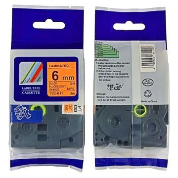 普贴 标签色带,荧光橙底黑字TZ2-B11宽度6mm 适用于兄弟TZ系列标签机 单位:卷