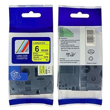 普贴 标签色带,荧光黄底黑字TZ2-C11宽度6mm 适用于兄弟TZ系列标签机 单位:卷