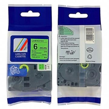 普贴 标签色带,荧光绿底黑字TZ2-D11宽度6mm 适用于兄弟TZ系列标签机 单位:卷