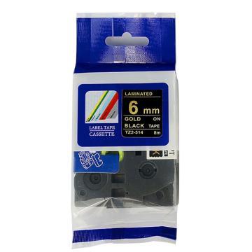 普贴 标签色带,黑底金字TZ2-314宽度6mm 适用于兄弟TZ系列标签机 单位:卷