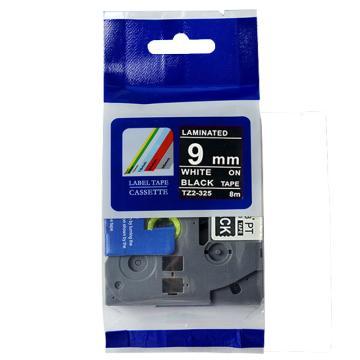 普貼 標簽色帶,黑底白字TZ2-325寬度9mm 適用于兄弟TZ系列標簽機 單位:卷