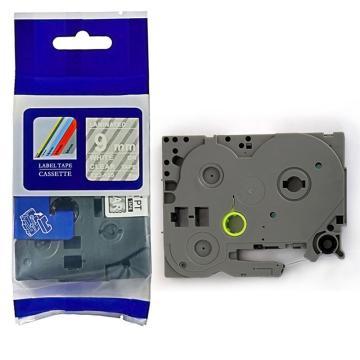 普贴 标签色带,透明底白字TZ2-125宽度9mm 适用于兄弟TZ系列标签机 单位:卷