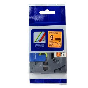 普贴 标签色带,荧光橙底黑字TZ2-B21宽度9mm 适用于兄弟TZ系列标签机 单位:卷