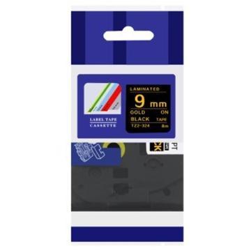 普贴 标签色带,黑底金字TZ2-324宽度9mm 适用于兄弟TZ系列标签机 单位:卷