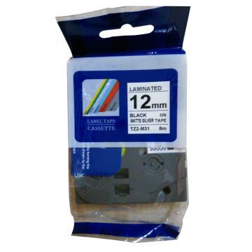 普贴 标签色带,哑光透明底黑字TZ2-M31宽度12mm 适用于兄弟TZ系列标签机 单位:卷