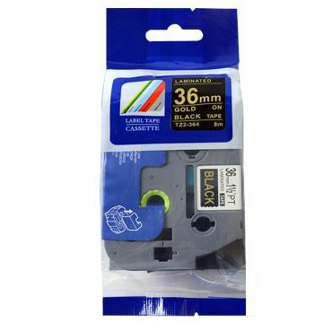普贴 标签色带,黑底金字TZ2-364宽度36mm 适用于兄弟TZ系列标签机 单位:卷