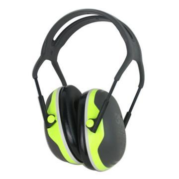 3M 头戴式耳罩,X4A,PELTOR X系列 绿黑