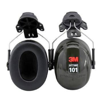 3M 挂帽式耳罩,H7P3E,PELTOR OPTIME 101系列 黑色