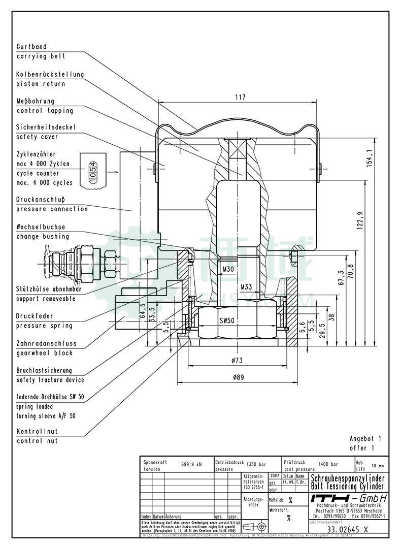 ITH液压螺栓拉伸器,定制件,和风机机型有匹配关系,购买前请咨询,33.03845-5000-10-12