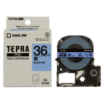 錦宮 彩色標簽,黑字藍底36mm×8m每卷(淺淡色) SC36B 單位:個