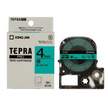锦宫 彩色标签,黑字绿底4mm×8m每卷(浅淡色) SC4G 单位:个