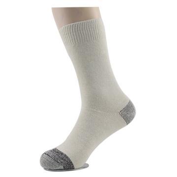 西域推荐 袜子,劳保纯棉袜子男 耐磨 粗线袜中筒袜棉袜 米白色 39-42,10双/包
