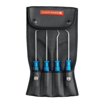 PB SWISS TOOLS密封件专用工具密封圈密封圈取出器O型圈取出器密封垫专用工具油封钩子油封拆卸工具,4件套,PB 7681.Set