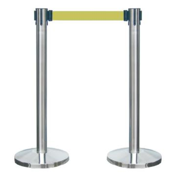 襄辰 不锈钢伸缩护栏,黄色护栏带,带长2m,高910mm,直径63mm,HL002