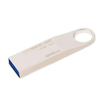 金士顿Kingston 128GB U盘 USB3.0 DTSE9G2 金属迷你型车载U盘 银色亮薄 读速100MB/s U盘 银色