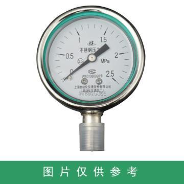 上仪 耐震压力表Y-60BFZ,304不锈钢+304不锈钢,径向不带边,Φ60,0~60MPa,M14*1.5,硅油
