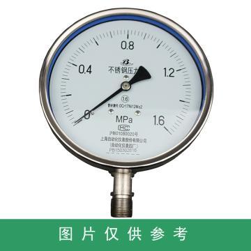 上仪 压力表Y-150B,304不锈钢+304不锈钢,径向不带边,Φ150,0~40MPa,M20*1.5