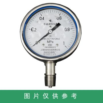 上仪 耐震压力表Y-100BFZ,304不锈钢+304不锈钢,径向不带边,Φ100,0~1.6MPa,M20*1.5,硅油