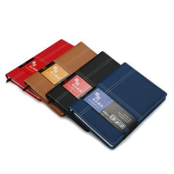 晨光 M&G 雅致辦公皮革膠套本,APY4J361 A5 (黑、紅、藍、黃混色) 120頁/本 單位:本