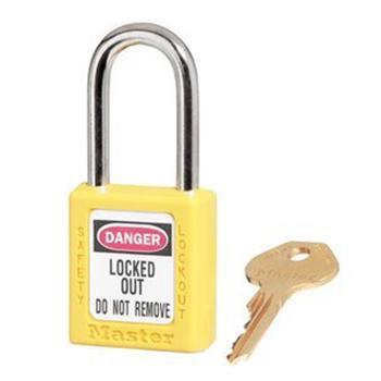 玛斯特锁MasterLock 6mm锁钩,锁钩净高38mm,44mm高,黄色XENOY工程塑料安全锁,410MCNYLW