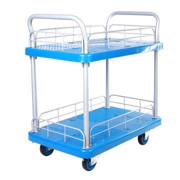 连和 微静轮二层带护栏手推车,双扶手 825X500mm 200kg,PLA200W-T2-HL2-D(PLA200P-T2-HL2-D )