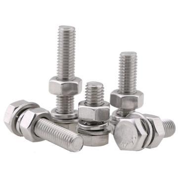 东明 DIN933全牙外六角螺栓带标准螺母平垫弹垫,M10-1.5*50,不锈钢304/A2,20套/包