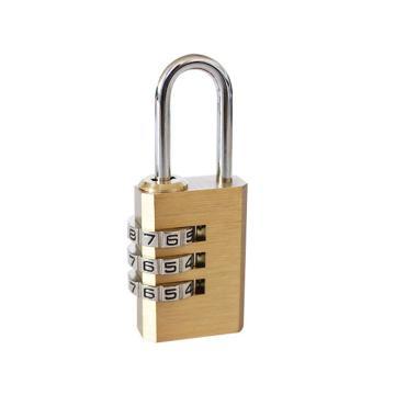 安赛瑞 黄铜密码锁,三位密码,锁体20×10mm,锁梁Φ3mm,锁梁宽8mm,总高53mm,14762