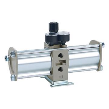 "SMC VBA-A增壓閥,手動操作型,接管Rc1/2"",帶壓力表與消音器,VBA43A-04GN"