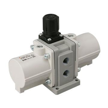 "SMC VBA-A增壓閥,手動操作型,接管Rc1/4"",帶壓力表與高效消音器,VBA10A-02GS"