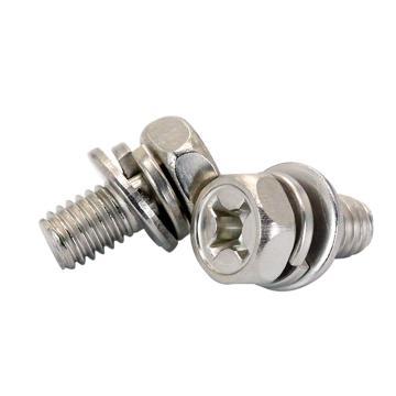 法思特 GB9074.13十字外六角头凹穴机螺钉平弹垫组合,M3-0.5X6,不锈钢304,洗白,3300个/盒