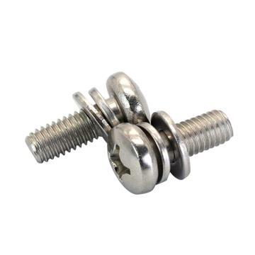 法思特 GB9074.4十字盤頭機螺釘平彈墊組合,M6-1.0X50,不銹鋼304,洗白,130個/盒