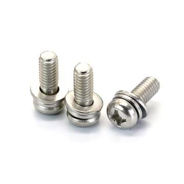 法思特 GB9074.8十字小盤頭機螺釘平彈墊組合,M4-0.7X10,不銹鋼316,洗白,1500個/盒