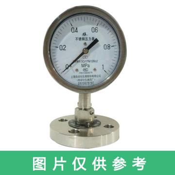 上仪 不锈钢隔膜压力表,0~6.0MPa,径向,Y-100BF,DN15法兰连接