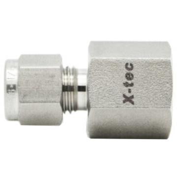 "X-tec FC系列卡套内牙直通,不锈钢316,英制,XY-SS-FC-K4F-NT6,1/4""卡套-3/8""NPT内螺纹"