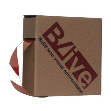 Blive 警示划线反光地贴胶带,50mm×22m,红/白,BL-RL-50-RW