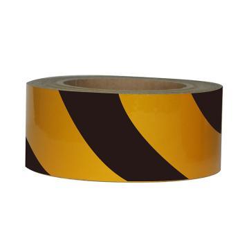Blive 警示划线反光地贴胶带,100mm×22m,黄/黑,BL-RL-100-YB