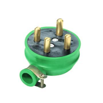 西域推荐 工业橡皮防水插座,32A圆脚四插头【华峰】