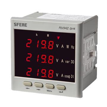 斯菲尔/SFERE 三相四线数显多功能谐波表,PD194Z-3H4 输入AC380V AC 5A 开孔尺寸76*76