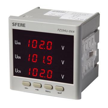 斯菲尔/SFERE 三相数显电压表,PZ194U-9X4 AC100V-3P3W