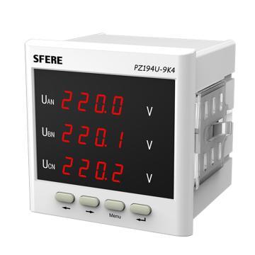 斯菲尔/SFERE 三相数显电压表,PZ194U-9K4 AC100V-3P3W