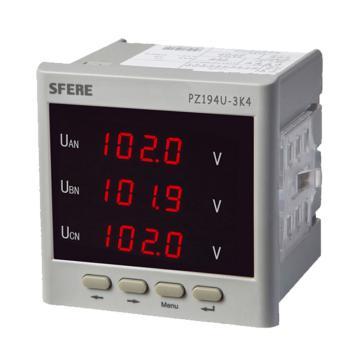 斯菲尔/SFERE 三相数显电压表,PZ194U-3K4 AC100V-3P3W
