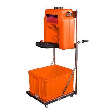 博化 移动推车洗眼器(ABS桶+304不锈钢推车)