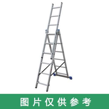 金锚 铝合金多功能组合梯 踏棍数:3 x 7 最大承重(KG):260 人字梯高度(米):1.88,CE3x7